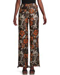 Prada Floral-cloqué Wide-leg Trousers - Brown
