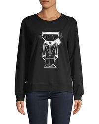 Karl Lagerfeld Graphic Cotton-blend Sweatshirt - Black