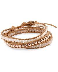 Chan Luu - Black Sunstone, Rose Quartz, Peach Sunstone, Leather & Sterling Silver Wrap Bracelet - Lyst