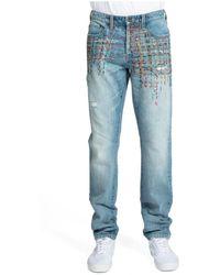 PRPS Men's Le Sabre Multi-stitch Straight Jeans - Medium Wash - Size 32 - Blue