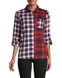 Tommy Hilfiger Women's Mixed Plaid Shirt - Black Red - Size Xs