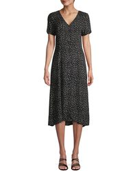 Saks Fifth Avenue Printed High-low Button-front Dress - Black