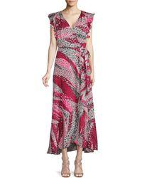 Ava & Aiden Ruffled Midi Wrap Dress - Pink