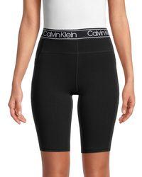 Calvin Klein Women's High-rise Logo Bike Shorts - Black - Size Xl
