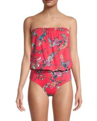 Johnny Was Women's Malakye Floral Blouson One-piece Swimsuit - Size Xs - Red
