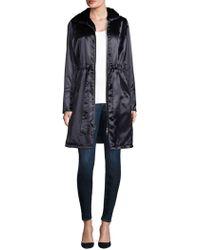 Jane Post - Shiny Satin Faux Fur-hooded Coat - Lyst