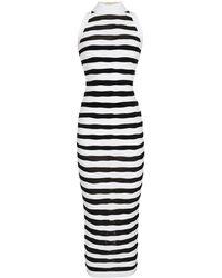 Balmain Striped Bodycon Dress - Black