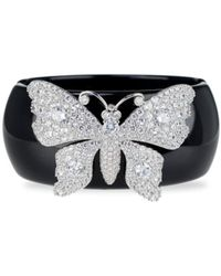 CZ by Kenneth Jay Lane Look Of Real Rhodium-plated & Cubic Zirconia Butterfly Cuff - Multicolour