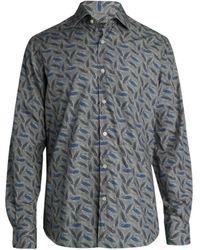 Saks Fifth Avenue Collection Large Leaf Dress Shirt - Grey