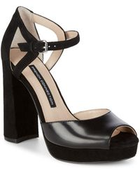 French Connection Ankle Strap Textile Block Heels - Black