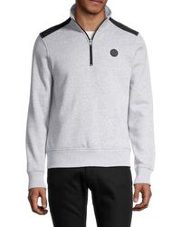 Michael Kors Men's Two-tone Quarter-zip Pullover - Midnight - Size Xl - Blue