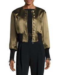 3.1 Phillip Lim - Pearly Cropped Bomber Jacket - Lyst