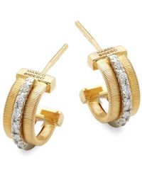 Marco Bicego - Goa Diamond, 18k White Gold And 18k Yellow Gold Engraved Earrings - Lyst