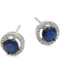 Saks Fifth Avenue - Women's 14k White Gold, Sapphire & Diamond Earrings - Lyst