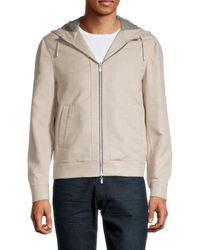 Brunello Cucinelli Men's Hooded Cashmere & Silk-blend Jacket - Light Tan - Size 48 (38) - Multicolor