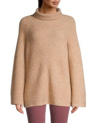 Theory Women's Oversized Ribbed Turtleneck Jumper - Natural - Size Xs