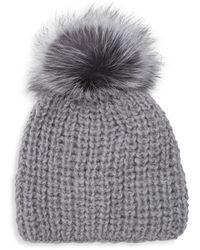 Surell Fox Fur Pom-pom Beanie - Grey