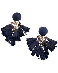 Akola Goldtone & Raffia Tassel Drop Earrings - Blue