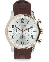 Versus Men's Versus Naboo Two-tone Stainless Steel Chronograph Silicone Strap Watch - Gray
