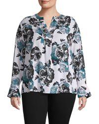f50743c6 Lyst - Calvin Klein Plus Size Color Block Button Down Tunic in Black
