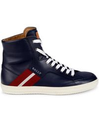 Bally Men's Oldani Leather High-top Trainers - Ink - Size 7.5 - Blue