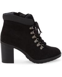 Kensie Atlanta Faux Fur-trim Heeled Booties - Black