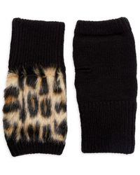 Jocelyn Leopard Faux Fur & Knit Fingerless Gloves - Black