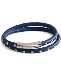 Tateossian Stainless Steel & Leather Studded Wrap Bracelet - Blue