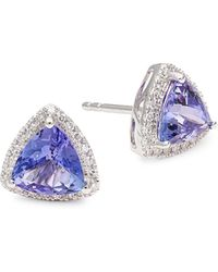 Effy 14k White Gold Tanzanite & Diamond Triangle Stud Earrings - Multicolour