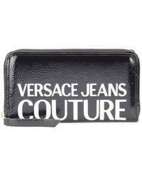 Versace Jeans Couture Logo Patent Continental Wallet - Black