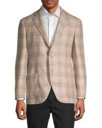Lubiam Plaid Regular-fit Wool-blend Jacket - Brown