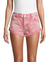 One Teaspoon Logo Denim Shorts - Red