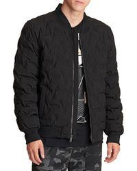 Karl Lagerfeld Waterproof Quilted Bomber Jacket - Black