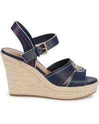 Tommy Hilfiger Faux Leather Espadrille Wedge Sandals - Blue