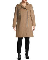 Avec Les Filles Women's Plus Wool-blend Moto Coat - Wheat - Size 1x (14-16) - Natural