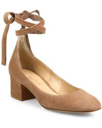 Gianvito Rossi - Suede Ankle-wrap Block Heel Pumps - Lyst