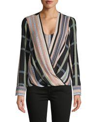 BCBGMAXAZRIA Women's Striped Faux Wrap Blouse - Size Xs - Black