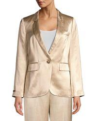 Peserico - Women's Satin Jacket - Champagne - Size 42 (6) - Lyst