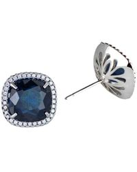 CZ by Kenneth Jay Lane Women's Look Of Real Rhodium-plated & Crystal Stud Earrings - Blue