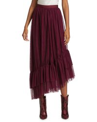 Elizabeth and James Women's Cheryl Asymmetric Tulle Flounce-hem Midi Skirt - Sangria - Size 0 - Red
