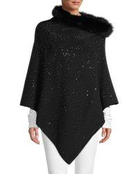 La Fiorentina Embellished Fox Fur-trim Poncho - Black