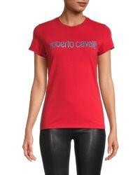 Roberto Cavalli Women's Glitter Logo T-shirt - Red - Size S