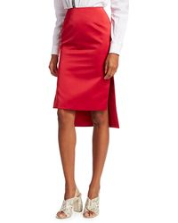 N°21 Step Hem Pencil Skirt - Red