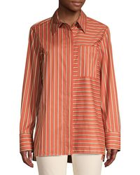 Lafayette 148 New York - Women's Greyson Striped Blouse - Henna Multi - Size M - Lyst