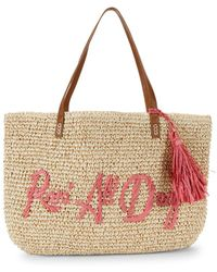 Marabelle - Embroidered Rose All Day Paper Straw Graphic Tote - Lyst