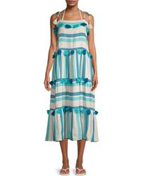Tessora Lola Striped Tassel-tier Midi Dress - Blue