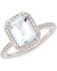 Effy 14k White Gold, Aquamarine & Diamond Ring - Multicolor