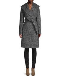Donna Karan Chevron Shawl-collar Coat - Black