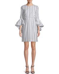 0e23cc9cd13 MILLY - Gabby Stripe Cotton Bell-sleeve Dress - Lyst