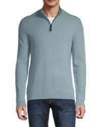 Ted Baker Men's Textured Quarter-zip Sweater - Blue - Size 3 (m)